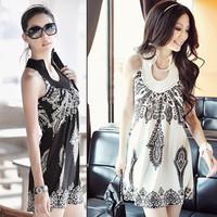 2014 Free Shipping Ladies Sexy Fashion Dress Round Collar Party Dress Hot Ethnic Reto Totem Sleeveless Tank Dress 88212