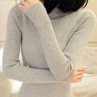 Slim elastic basic sweater all-match long-sleeve medium-long Women knitted basic shirt female