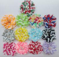 Free Shipping , New Arrival pearl rhinestone Multicolor Chevron Chiffon Flower ,60pcs/lot