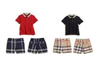 2014 new brand summer children suit set boys t-shirt pants plaid boys kids clothes baby boys clothes set