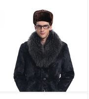 black brown hot sale men Bomber Hats cap winter warm wool Apparel Accessories simple outdoor russian freeshipping