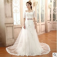 New White Fashionable Romantic Half-Sleeve Bandage Lace Wedding Dress 2014 Plus Size Cheap Vestido De Noiva Vintage Train China
