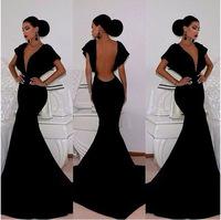 Backless Vestido Longo Deep V Black Evening Long Wear Vestidos De Renda Package Hip Fishtail Trailing Prom Sexy Dress Gown XL033