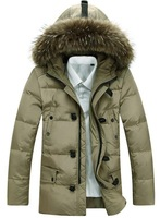 High end! 2014 brand han edition men's large fur collar hooded down jacket winter fashion parkas coat outerwear plus size S-3XL