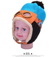 cartoon plane hot sale Bomber hat baby Hats cap winter warm wool Apparel Accessories outdoor pilot russian freeshipping