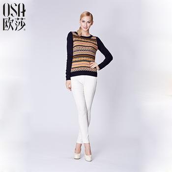 Osa 2014 осень зима женщины свитер о образным вырезом с длинным рукавом сращивание ...