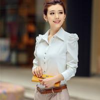 autumn professional fashion ladies white shirt women's long sleeve chiffon