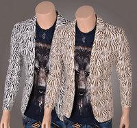 New 2014 Brand Mens Blazer Jacket Fashion Leopard Print Men's Suit Coat Jacket A Single Grain Of Buckle Large Size
