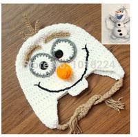2014 new Crochet Frozen Olaf Hat Baby Boys Girls Cartoon Character Toddler Hat Winter Kids Children's Beanie caps Christmas Gift