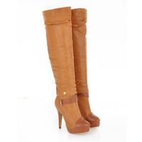 wholesale 2014 newest designed super high heel platform double-use knee high/short boots black/brown/beige short suede boots
