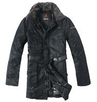rabbit fur collar long model man black duck down coat peutereys down jacket