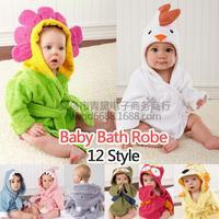 wholesale 30pcs baby cartoon cotton sleepwear children hooded towels bathrobe robe via Express free shipping