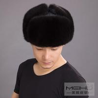 Male 3 straw hat male winter ear protector cap mink hat lei feng 2014