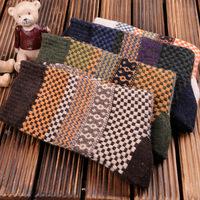 fashion dust color woolen blends stripes pattern men's tube socks