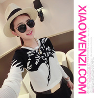 Small mosquitoes 2014 autumn fly fashion o-neck long-sleeve Women sweater ix4027
