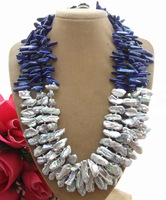 20mm Biwa Pearl&Lapis Necklace  free +shippment