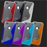 50pcs/Lot TPU PC S Line Design GEL Case Cover Skin for iPhone 4 4S 4G