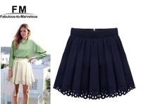 Wholesale Mini Pleated Tennis Skirt Saia Feminina Skater skirt Plus Size Women Chiffon Hole Hollow Out High Waist Skirt SS13D005