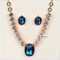 Authentic Austrian Emerald Blue Crystal 18K Gold Plated Square Pendant Fashion Necklace Earrings Jewelry Set NK079