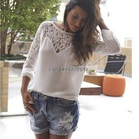 New 2014 Fashion Women Blouses Hot Selling Plus Size Lace Chiffon Blusas Camisas Femininas Casual Shirt Tops Sale 40145
