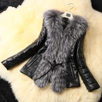 2014 Top European Button Solid Design Female Fox Fur Vest Leather Outerwear Plus Size Women Coat