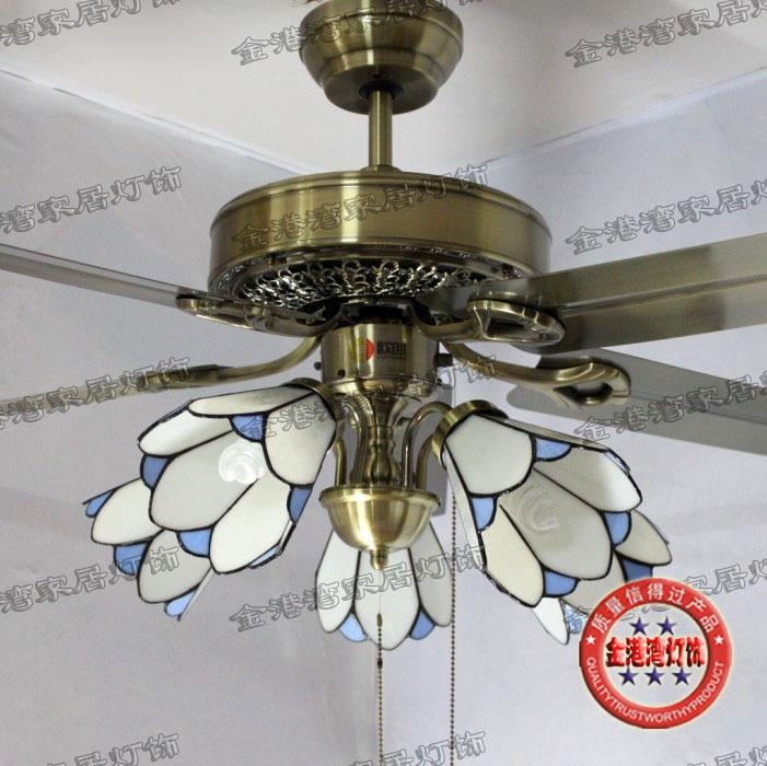 Store selling Tiffany lamps burst iron leaf fan fan light ceiling fan light minimalist modern European antique chandelier fan(China (Mainland))