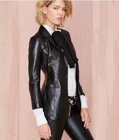Boyfriend Style PU Leather Split Slim Blazer Women Suit Autumn Coat Black