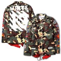 2014 Pyrex off white virgil abloh13 stripe print camouflage shirt for men and women camo shirts swag hip hop hba