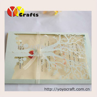China wholesale party decoration laser cut wedding invitations tree