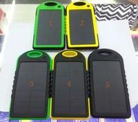 5000mAh Solar Charger Portable Waterproof Dual USB LED Backup External Panel Power Bak for iPad iPhone 5s Samsung HTC 20pcs/lot