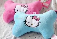 Free shipping new style hello kitty cat face pet products dog plush toy bone shape pink/blue 10pcs/lot