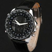New Men Sports Military army  fashion casual Wristwatches Dual time Digital Analog Quartz Watch  leather band  Relogio Masculino
