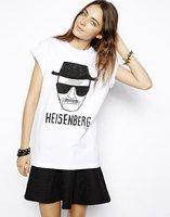 Free Shipping New Fashion Summer Ladies' Old Man Head Pattern Printing Round Neck T-shirt