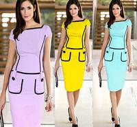 New Arrival vestidos de festa Eelegant Knee Length Pocket Cute Casual Brief Bodycon Pencil Dress For Women Work Wear Career Gown