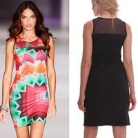 New 2014 Summer Sexy Fashion Women Print Patchwork Sleeveless Tank Sheath Knee-Length Nightclub Dress Vestidos, S, M, L, XL