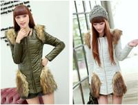 Winter Jackets Women 2014 New Long Sections Slim Padded Coat Fashion Slim Round Neck Jacket  Army GreenTY046