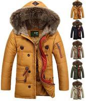 Fashion 2014 Brand Winter Men's Long Design Thickening Warm Large Fur Collar Lambs Wool Hooded Down Jacket Parkas Coat Outerwear
