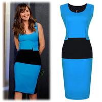 New 2014 Summer Brief Women Contrast Color Patchwork Tank O-Neck Empire Waistline Package Hip Dress Vestidos, Blue, S, M, L, XL