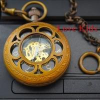 Free shipping,Vintage Style Copper Case Time Black Hollow Flower Dial Skeleton Men Women Mechanical Self-wind pocket Watch