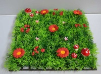 2014 NEW!!!25*25cm artificial plastic decorative dense grass mat boxwood mat with red mushroom and red flowers free of shipping