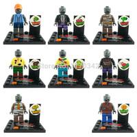 Plants vs Zombies PVZ Minifigures 8pcs/lot Building Blocks Sets Model Figures Toys Compatible With Lego
