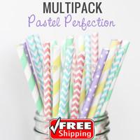 250pcs Mixed 5 Designs PASTEL PERFECTION DIY Paper Straws,Light Yellow,Mint,Lilac,Light Blue,Baby Pink,Swiss Dot,Chevron,Striped