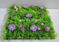2014 NEW!!!25*25cm artificial plastic decorative dense grass mat boxwood mat with purple mushroom and purple flowers