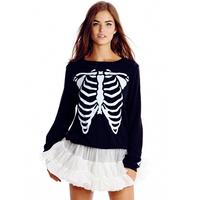 Fashion Skull Skeleton Pullover Shirt For Women Casual Sweater Coat Ladies Hoodies Sweatshirts