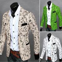 New 2014 Brand Mens Blazer Jacket Fashion Casual Sports Small Broken Flower Men Suit Jacket A Single Grain Of Buckle Large Size