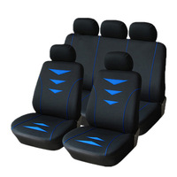 9PCS Black+Blue Applique Embroidery Front Rear Car Seat Covers Set Protector For Car Vehicle Universal