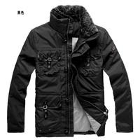 rabbit fur collar mid long model  man coffee duck down four pocket coat  down jacket