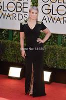 Golden Globes 2014 Best Dressed Kelly Osbourne V-neck Black Celebrity Red Carpet Dresses