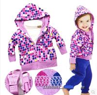 2014 spring kids coat flower girls's outerwear children's clothing dot jacket girls coat