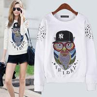 Designer Women's White Cotton TOPS Fashion Pullovers Owl Printing Loose Plus Size Animal Sweatershirts Casual Women Outerwear